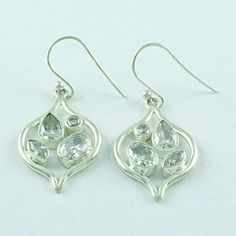 925 STERLING SOLID SILVER CUBIC ZIRCONIA STONE JEWELRY EARRINGS S.3.5 cm E2147 #SilvexImagesIndiaPvtLtd #DropDangle