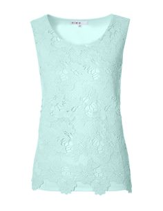 This crochet front style is a great staple for different occasions. Easily pairs with a pencil skirt for the office or with jeans and a blazer for the weekend. Work Wardrobe, Basic Tank Top, Mint, Blazer, Tank Tops, Blouse, Crochet, Skirts, Women