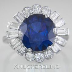 5.00ct Sapphire & 1.50ct Brilliant & Baguette Cut Diamond Ring in Platinum