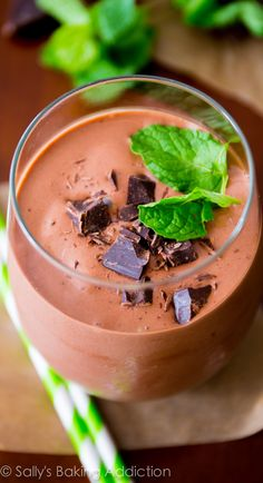 Thick & creamy mint chocolate milkshakes without all the calories and fat!