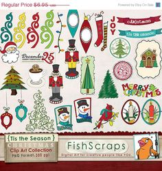Christmas Clip Art  - Tis the Season - Holiday ClipArt for Personal and Small Business / Commercial Use! Scrapbooking, Printables, Iron on Transfers, Embroidery.