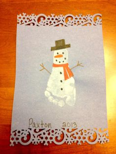 Snowman foot project done by my little guy at daycare.