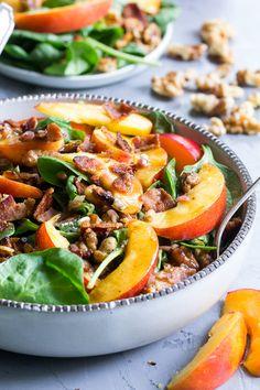 Nectarine Spinach Salad with Bacon & Walnuts {Paleo & Whole30}