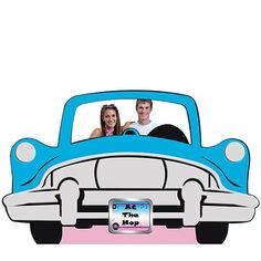 This Car Standee features a blue, silver and black car cut-out. Our Car Standee is a freestanding cardboard mural that measures 47 inches high x 74 inches long. Grease Themed Parties, 50s Theme Parties, Grease Party, Party Themes, Party Ideas, Party Kit, 50s Party Decorations, Party Props, Dance Decorations