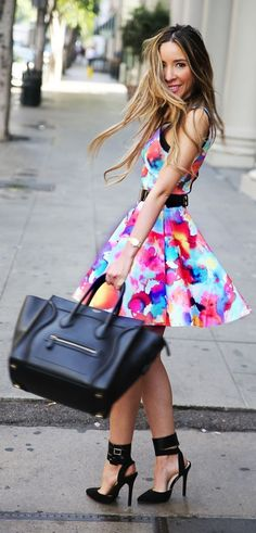 #spring #floral #trend #outfitideas | Floral Fit And Flare Dress