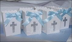#Boys Baptism Rhinestone #Cross Popcorn Style #FavorBox. Perfect For Candy Buffets!