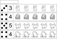 Werkblad rekenen: dino Dinosaurs Preschool, Dinosaur Activities, Preschool Learning Activities, Motor Activities, Kindergarten Math, Elementary Spanish, Dragons, Reggio Emilia, Home Schooling