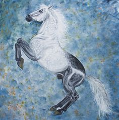 "Gabriela Boiero. Acrylic, 80 x 80 - ""Rearing Grey"" Donated to IHP foundation during ""Horse in Art"" in Florence."