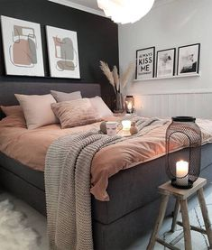 Room Ideas Bedroom, Home Decor Bedroom, Classy Bedroom Ideas, Bedroom Apartment, Small Bedroom Ideas For Women, Diy Bedroom, Bedroom Plants, Gray Room Decor, Grey Home Decor