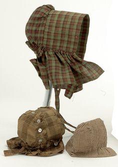 Lot: 3 Early Doll Bonnets