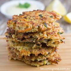 Fritters with Healthy Garlic Aioli Quinoa Fritters- Gluten Free, Dairy Free, Refined Sugar Free, Corn Free Dairy Free Recipes, Vegan Recipes, Sweet Potato Fritters, Veggie Fritters, Candida Diet Recipes, Light Recipes, Healthy Snacks, Diet Snacks, Healthy Detox