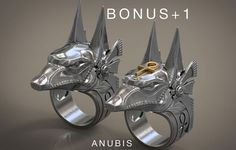 anubis ring stargate egyptian deity  ankh ... 3d model stl 1