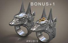 anubis ring stargate egyptian deity  ankh ... 3d model stl 1