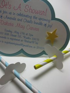 Cloud and star invitation for the baby shower.