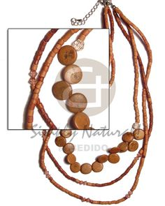 Native 3 Rows Graduated Tan 2-3mm Teens Necklace Wholesale Jewelry