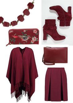 Naisten vaatteet, syysvaatteet, viininpunainen   Burgundy and Bordeaux on the wall, too