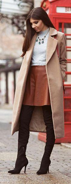 Camel Leather Loose Shorts