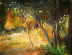 Painting landscape forest park fall