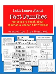Let's Learn About Fact Families (includes teacher's notes, printable materials for the lesson and printable worksheets to check for understanding or practice)$