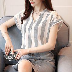 New 2019 Summer Women Blouse Short Sleeve Chiffon Causal Simple Female Shirt Elegant Hollow V-neck Shirt Striped Tops 30 - stripe - - Blouses & Shirts Stylish Shirts, Blouse Outfit, Shirt Blouses, Blouse Designs, Blouses For Women, Cheap Blouses, Fashion Outfits, Striped Blouses, Striped Tops