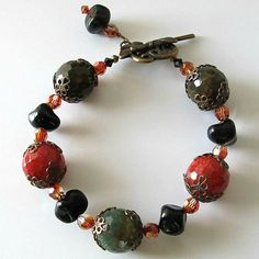 Gemstone bracelet agate and Swarovski crystals....Tuscan Countryside, Italian, beaded bracelet, beaded jewelry