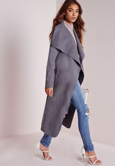 Missguided - Belted Waterfall Coat Grey