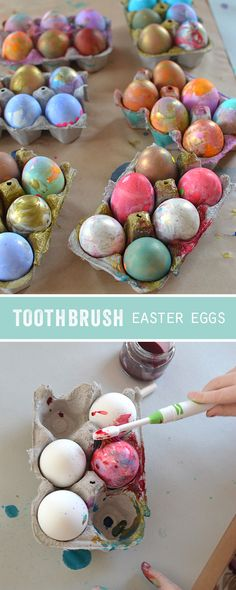 Toothbrush Easter Eggs Give The Kids A Toothbrush Instead Of A Paintbrush To Decorate Their Easter Eggs These Eggs Were Made By Olds Easter Arts And Crafts, Bunny Crafts, Easter Crafts For Kids, Easter Holidays, Crafts For Kids To Make, Easter Eggs, Painting Eggs, Egg Art, Dentists