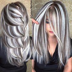 Silver Hair Highlights, Hair Highlights And Lowlights, White Hair With Lowlights, Platinum Blonde Highlights, Long Silver Hair, Long Gray Hair, Silver Grey Hair Gray Hairstyles, Black Hair, Ice Blonde Hair