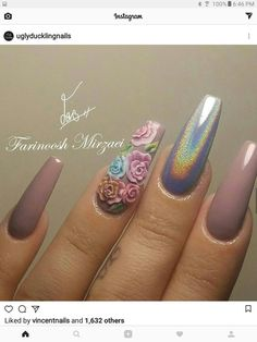 Beautiful nails by ✨Ugly Duckling Nails page is dedicat. Beautiful nails by ✨Ugly Duckling Nails page is dedicated to promoting quality, inspirational nails created by International Nail Artists💖 Fancy Nails, Cute Nails, Pretty Nails, 3d Nail Art, Fabulous Nails, Gorgeous Nails, Instagram Nails, Chrome Nails, Holographic Nails