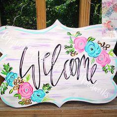 Welcome Door Hangers Wooden Doors, Wooden Signs, Burlap Signs, Burlap Door Hangers, Spring Door, Front Door Decor, Welcome Signs Front Door, Wood Cutouts, Wood Creations