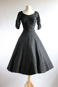 Vintage 1950s Black Lace Party Dress ~ 50s Dress Black Lace Sleeves Full Skirt by xtabayvintage on Etsy