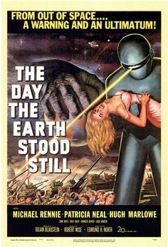 Year: 1951  Cast: Michael Rennie, Patricia Neal, Hugh Marlowe, ...  Directed By: Robert Wise    A gentle alien lands on Earth to deliver a message of peace and a warning against experimenting with nuclear power. He finds his views echoed by a majority of the population, but not the ones who are in control. In this account Rennie is the visitor backed by the mighty robot Gort. One of the greatest science fiction films of all time.