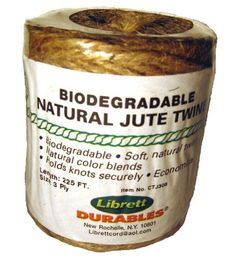 Librett Biodegradable Natural Jute Twine, 225 FT - 8oz - 3 Ply by Librett. $4.95. 100% pure twisted jute. High quality, evenly spun with a soft easy to handle feel. Natural colors blend into outdoors. Low stretch and hold knots securely. Uses: Recycling tying twine, gardening, crafts, sewing burlap bags. A popular economical all purpose household twine.