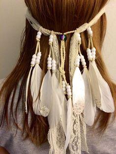 White ivory, boho bride, lace, veil, feather headband, tribal headband, featival fashion, coachella, Feather hair comb, bridal hair comb,