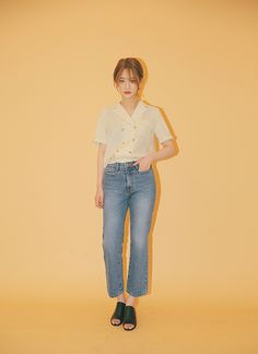 Striped Double Breasted Short Sleeve Shirt | STYLENANDA