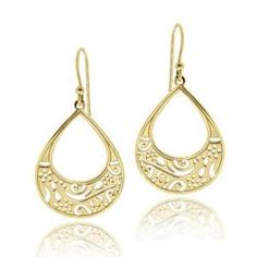 Gold over Silver Filigree Teardrop Earrings $27