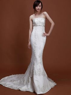 Strapless Mermaid Wedding Dress with Beaded Applique