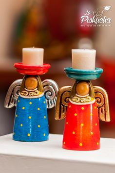 Handmade and hand painted clay form El Salvador Candle In The Dark, Pottery Angels, Wood Angel, Chandeliers, Cute Candles, Ceramic Angels, Christmas Clay, Clay Vase, Handmade Flowers
