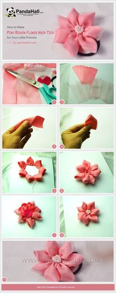 A pink ribbon flower hair tie is here for you! Come to learn how to make lovely ribbon flower hair ties for you little princess! This is an ingenious combination of satin ribbons and organza ribbons. Ribbon Art, Ribbon Hair Bows, Diy Hair Bows, Ribbon Crafts, Flower Crafts, Ribbon Flower, Handmade Flowers, Diy Flowers, Flowers In Hair