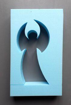BETONGIESSFORM Eleganter ENGEL -weitere Größen findest Du im Shop - Auf den Bildern siehst Du einmal die zu erwerbende Form (das NEGATIV), einmal das POSITIV und ein fertiges Betonobjekt....
