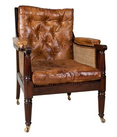 George IV Mahogany Bergere Library Chair