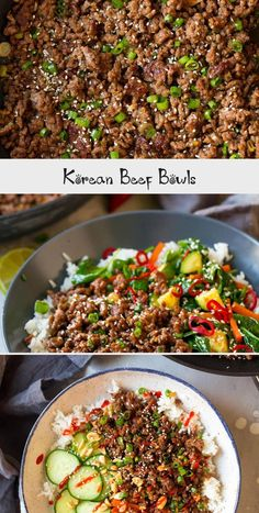 Korean Beef Bowls - a quick and easy, inexpensive and deliciously flavorful recipe! Perfect for busy days and a recipe the whole family will love! Korean Ground Beef, Korean Beef Bowl, Slow Cooker Thai Chicken, Slow Cooker Beef, Beef Bowl Recipe, Mince Recipes, Beef And Rice, Asian Recipes, Ethnic Recipes