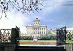 Moskou. De Lenin bibliotheek. Oude postkaart.