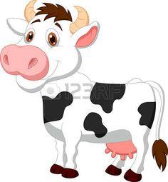 Cute cow cartoon  photo
