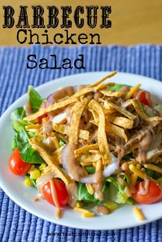 This Barbecue Chicken Salad with a simple dressing is a copycat of Bob Evans' Wildfire Chicken Salad. Tangy barbecue chicken tops a bed of fresh veggies. Bbq Chicken Salad, Barbecue Chicken, Chicken Salad Recipes, Grilled Chicken, Salad Bar, Soup And Salad, Cooking Recipes, Healthy Recipes, Healthy Foods