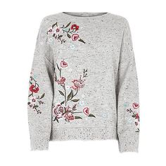 Grey floral embroidered jumper (1,685 MXN) ❤ liked on Polyvore featuring tops, sweaters, grey, river island, shirts, long sleeve crew neck sweater, grey crewneck sweater, knit sweater, long sleeve sweater and grey jumper