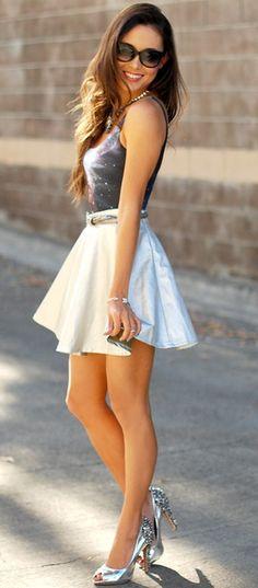 tank, skirt, shoes, sunglasses, hair down