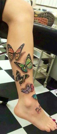 100 Fabulous Butterfly Tattoo Designs That Will Make You Crazy Realistic Butterfly Tattoo, Butterfly Tattoos For Women, Butterfly Tattoo Designs, Butterfly Sleeve Tattoo, Colorful Butterfly Tattoo, Best Leg Tattoos, Dad Tattoos, Body Art Tattoos, Geometric Tattoos