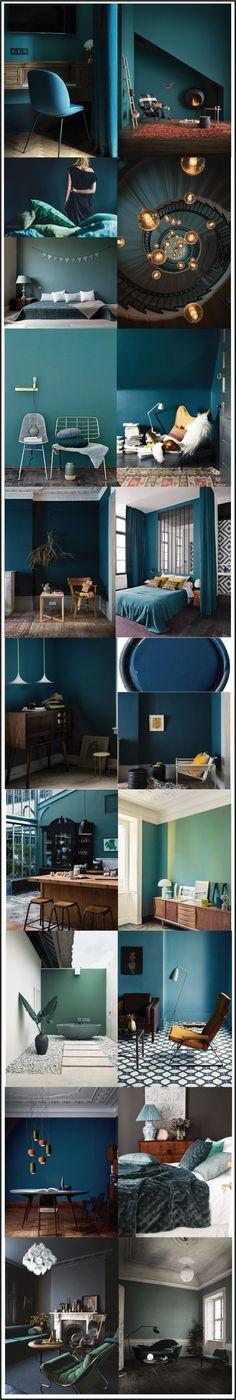 bleu paon-vert balsam-bleu canard- mood board chiara-stella-home Plus Room Colors, Wall Colors, House Colors, Paint Colors, Colours, Green Colors, Dark Walls, Blue Walls, Interior And Exterior