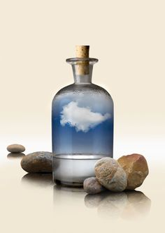 Here's a quick and easy science project you can do: make a cloud inside a bottle. In this project, we'll use smoke to help form a cloud.